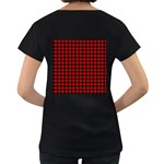 Lumberjack Plaid Fabric Pattern Red Black Women s Loose-Fit T-Shirt (Black) Back