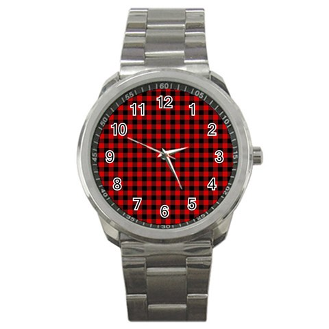 Lumberjack Plaid Fabric Pattern Red Black Sport Metal Watch