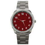Lumberjack Plaid Fabric Pattern Red Black Sport Metal Watch Front