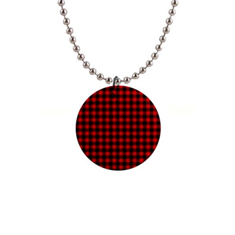 Lumberjack Plaid Fabric Pattern Red Black Button Necklaces