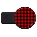 Lumberjack Plaid Fabric Pattern Red Black USB Flash Drive Round (4 GB)  Front