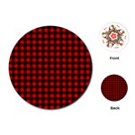 Lumberjack Plaid Fabric Pattern Red Black Playing Cards (Round)  Front