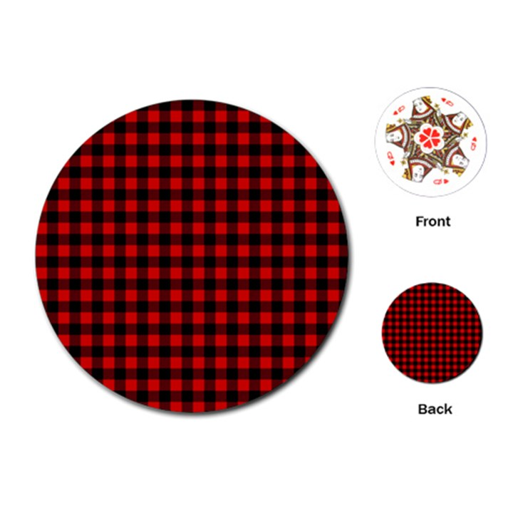 Lumberjack Plaid Fabric Pattern Red Black Playing Cards (Round)