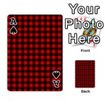 Lumberjack Plaid Fabric Pattern Red Black Playing Cards 54 Designs  Front - SpadeA