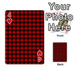 Lumberjack Plaid Fabric Pattern Red Black Playing Cards 54 Designs  Front - Heart4