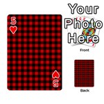 Lumberjack Plaid Fabric Pattern Red Black Playing Cards 54 Designs  Front - Heart5