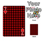 Lumberjack Plaid Fabric Pattern Red Black Playing Cards 54 Designs  Front - Heart7