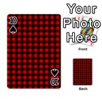Lumberjack Plaid Fabric Pattern Red Black Playing Cards 54 Designs  Front - Spade10