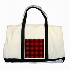 Lumberjack Plaid Fabric Pattern Red Black Two Tone Tote Bag