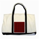 Lumberjack Plaid Fabric Pattern Red Black Two Tone Tote Bag Front