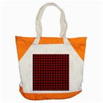 Lumberjack Plaid Fabric Pattern Red Black Accent Tote Bag Front