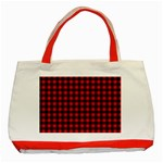 Lumberjack Plaid Fabric Pattern Red Black Classic Tote Bag (Red) Front