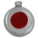 Lumberjack Plaid Fabric Pattern Red Black Round Hip Flask (5 oz) Front