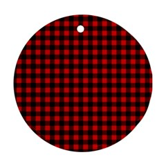 Lumberjack Plaid Fabric Pattern Red Black Round Ornament (Two Sides)