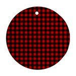 Lumberjack Plaid Fabric Pattern Red Black Round Ornament (Two Sides)  Back