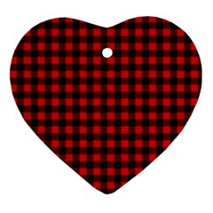 Lumberjack Plaid Fabric Pattern Red Black Heart Ornament (2 Sides)