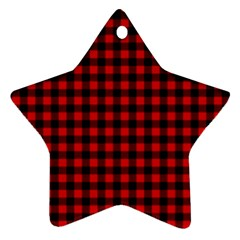 Lumberjack Plaid Fabric Pattern Red Black Star Ornament (two Sides)