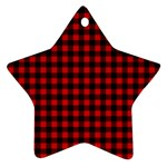 Lumberjack Plaid Fabric Pattern Red Black Star Ornament (Two Sides)  Front