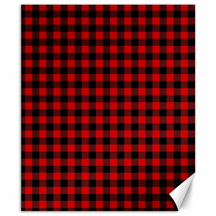 Lumberjack Plaid Fabric Pattern Red Black Canvas 8  x 10