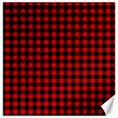 Lumberjack Plaid Fabric Pattern Red Black Canvas 12  x 12