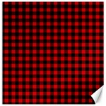 Lumberjack Plaid Fabric Pattern Red Black Canvas 16  x 16   16 x16 Canvas - 1