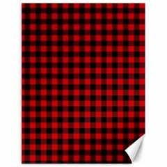 Lumberjack Plaid Fabric Pattern Red Black Canvas 18  x 24