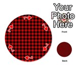 Lumberjack Plaid Fabric Pattern Red Black Playing Cards 54 (Round)  Front - Heart7