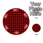 Lumberjack Plaid Fabric Pattern Red Black Playing Cards 54 (Round)  Front - Heart10