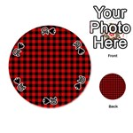 Lumberjack Plaid Fabric Pattern Red Black Playing Cards 54 (Round)  Front - Spade10