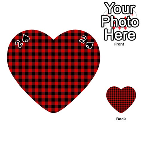 Lumberjack Plaid Fabric Pattern Red Black Playing Cards 54 (Heart)