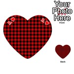 Lumberjack Plaid Fabric Pattern Red Black Playing Cards 54 (Heart)  Front - HeartA