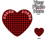 Lumberjack Plaid Fabric Pattern Red Black Playing Cards 54 (Heart)  Front - Joker2
