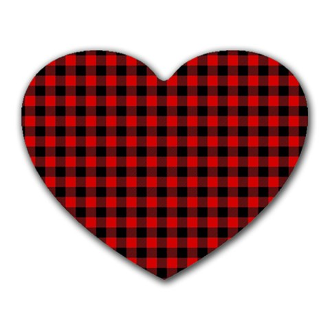 Lumberjack Plaid Fabric Pattern Red Black Heart Mousepads