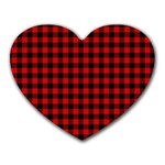 Lumberjack Plaid Fabric Pattern Red Black Heart Mousepads Front