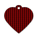Lumberjack Plaid Fabric Pattern Red Black Dog Tag Heart (Two Sides) Front