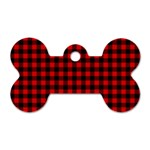 Lumberjack Plaid Fabric Pattern Red Black Dog Tag Bone (Two Sides) Front