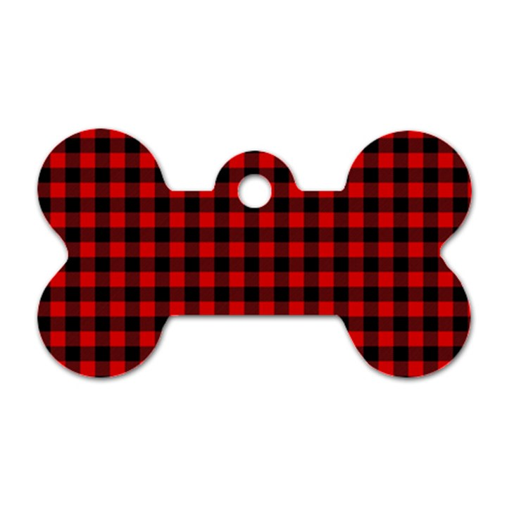 Lumberjack Plaid Fabric Pattern Red Black Dog Tag Bone (Two Sides)