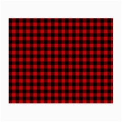 Lumberjack Plaid Fabric Pattern Red Black Small Glasses Cloth (2 Side)