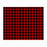 Lumberjack Plaid Fabric Pattern Red Black Small Glasses Cloth (2-Side) Front