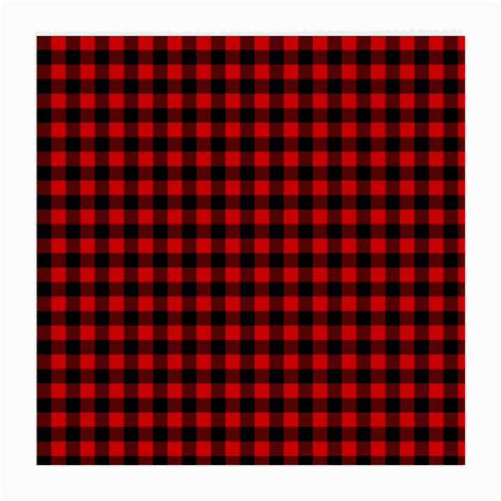 Lumberjack Plaid Fabric Pattern Red Black Medium Glasses Cloth