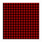Lumberjack Plaid Fabric Pattern Red Black Medium Glasses Cloth (2-Side) Back