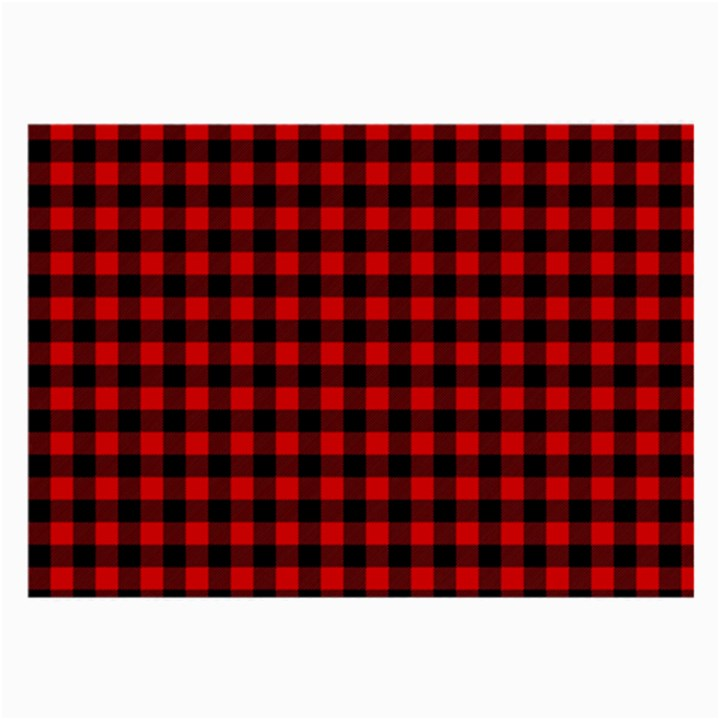 Lumberjack Plaid Fabric Pattern Red Black Large Glasses Cloth