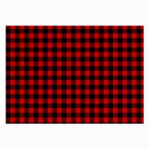 Lumberjack Plaid Fabric Pattern Red Black Large Glasses Cloth (2-Side)