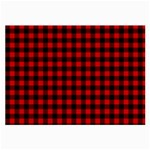 Lumberjack Plaid Fabric Pattern Red Black Large Glasses Cloth (2-Side) Back