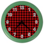 Lumberjack Plaid Fabric Pattern Red Black Color Wall Clocks Front