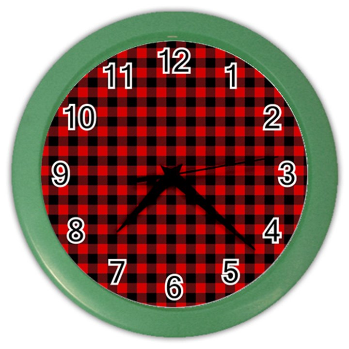 Lumberjack Plaid Fabric Pattern Red Black Color Wall Clocks