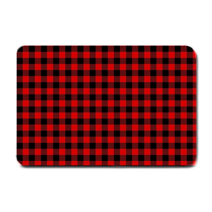 Lumberjack Plaid Fabric Pattern Red Black Small Doormat