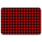 Lumberjack Plaid Fabric Pattern Red Black Large Doormat  30 x20 Door Mat - 1