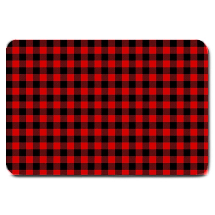 Lumberjack Plaid Fabric Pattern Red Black Large Doormat