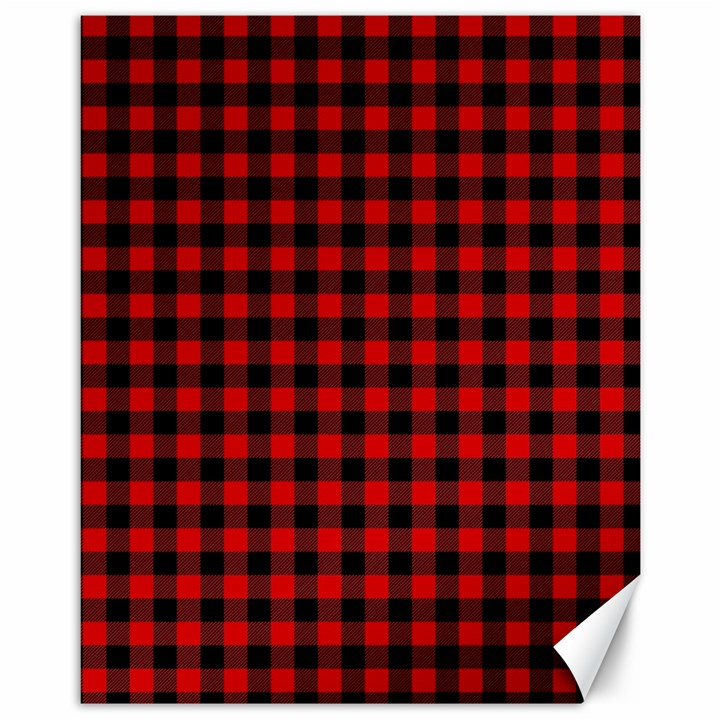 Lumberjack Plaid Fabric Pattern Red Black Canvas 11  x 14